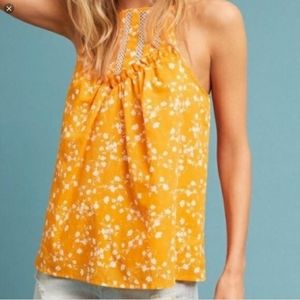 Anthropologie Maeve Yellow Floral Tank